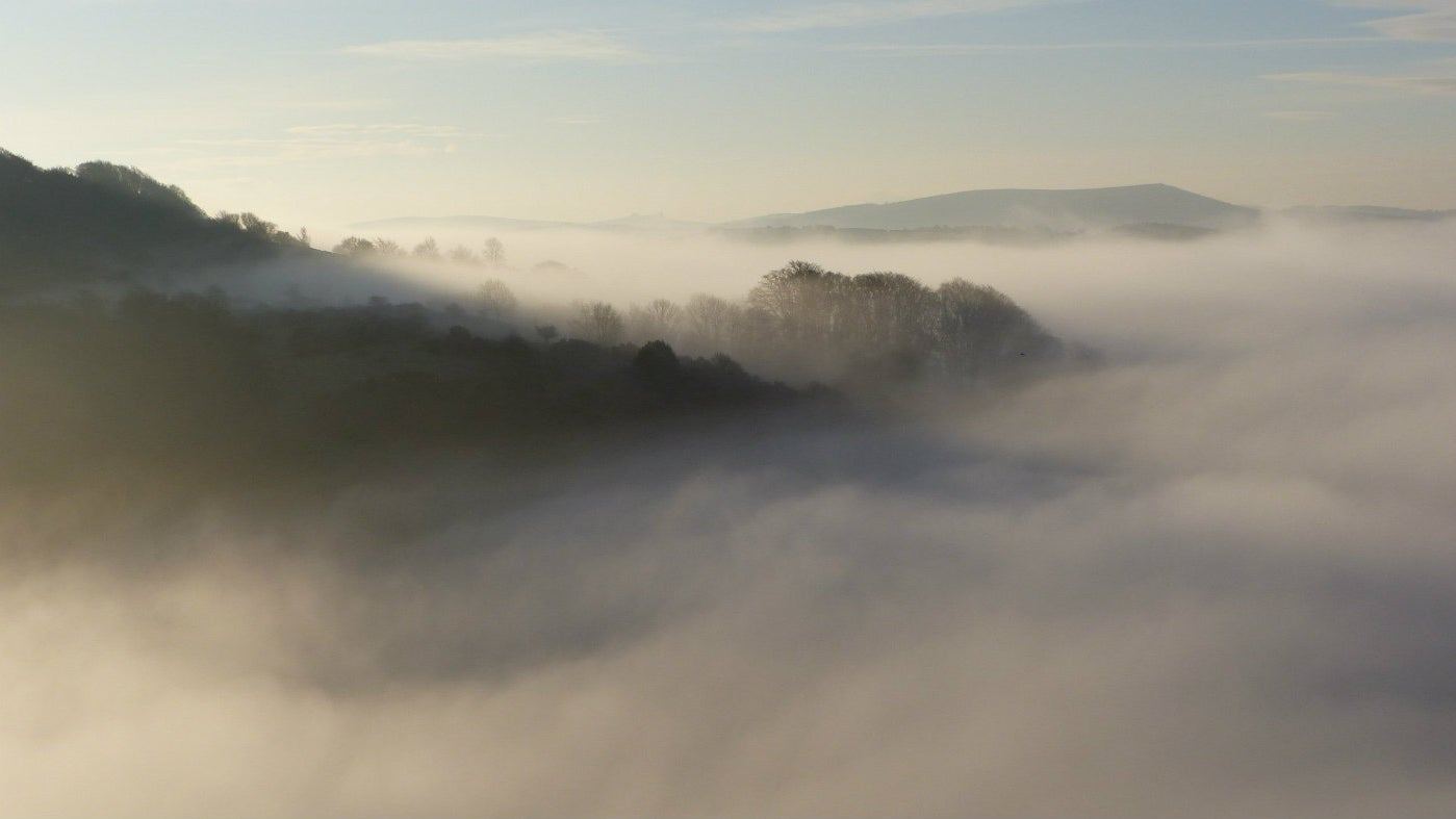 A misty morning over the Teign Valley seen from Castle Drogo