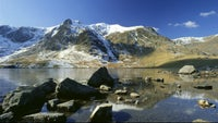 Llyn Idwal, with Y Garn capped with snow
