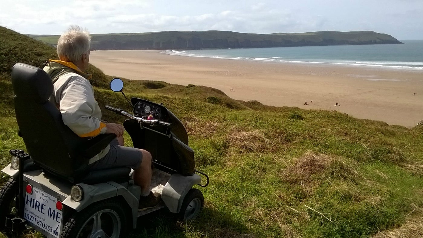 Woolacombe tramper in dunes overlooking sea