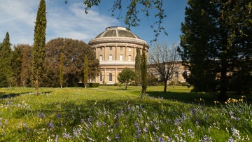 Spring flowers in bloom in front of Ickworth's rotunda