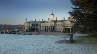 A view of the house on a frost morning at Polesden Lacey