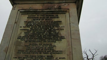 The inscription shown on the Monument at Ickworth presened by the people of Derry in memory of the 'Earl' Bishop.