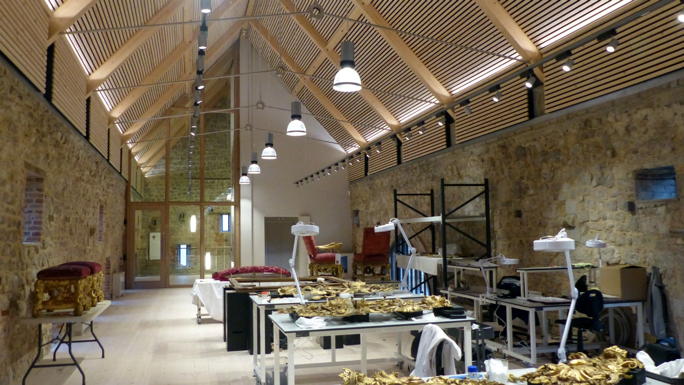 The interior of the new Conservation Studio at Knole