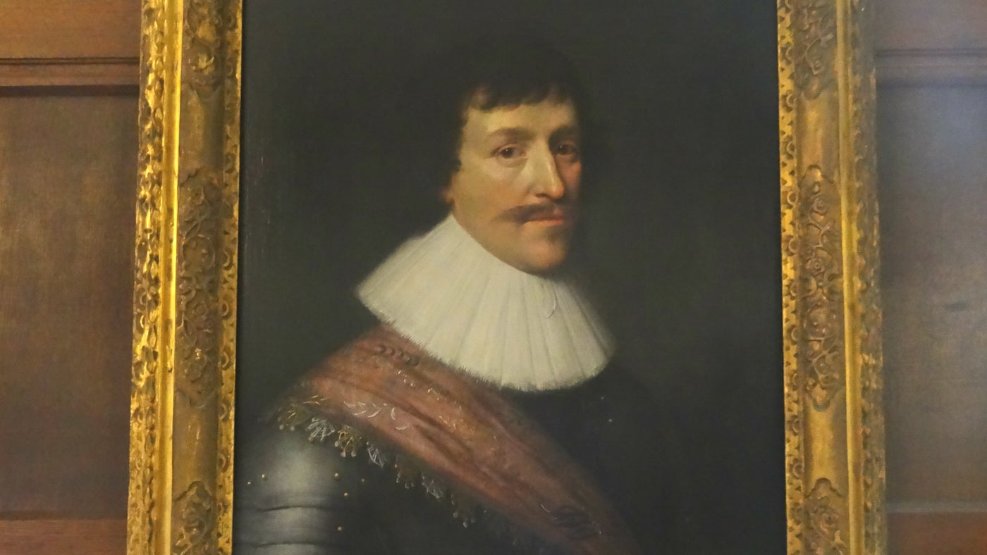 A portrait of Sir William Croft in the Entrance Hall at Croft Castle in Herefordshire