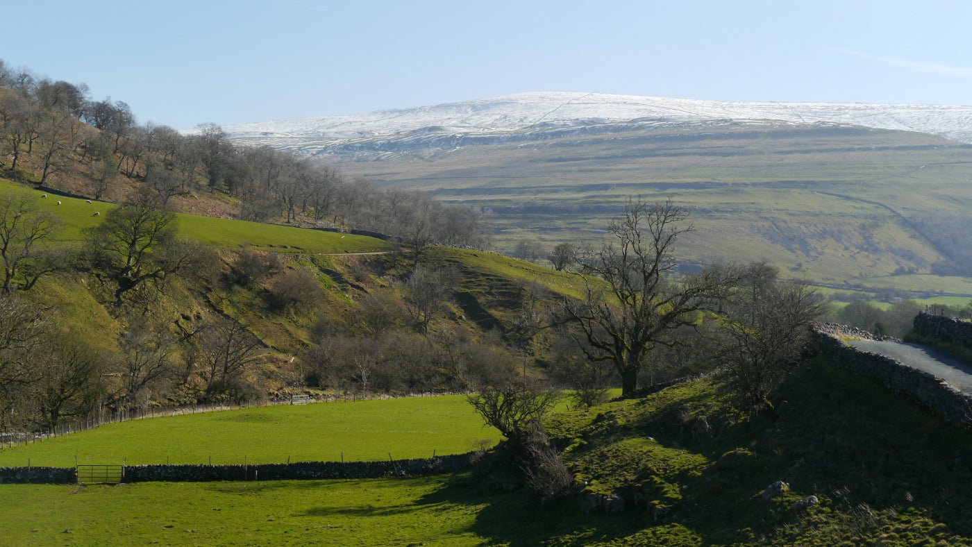 A bright spring day view of Buckden Pike
