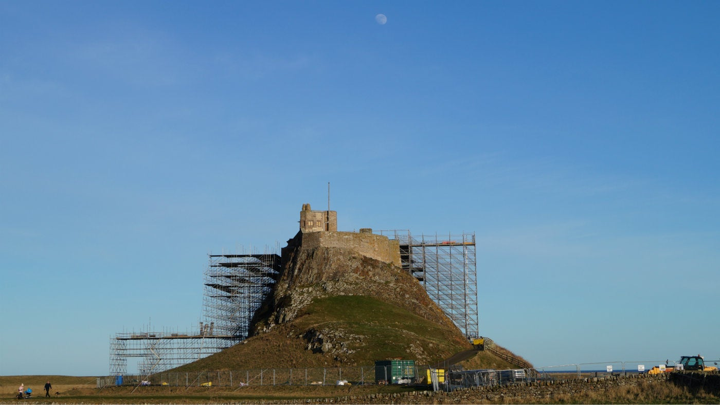 Lindisfarne Castle from the west showing project scaffolding