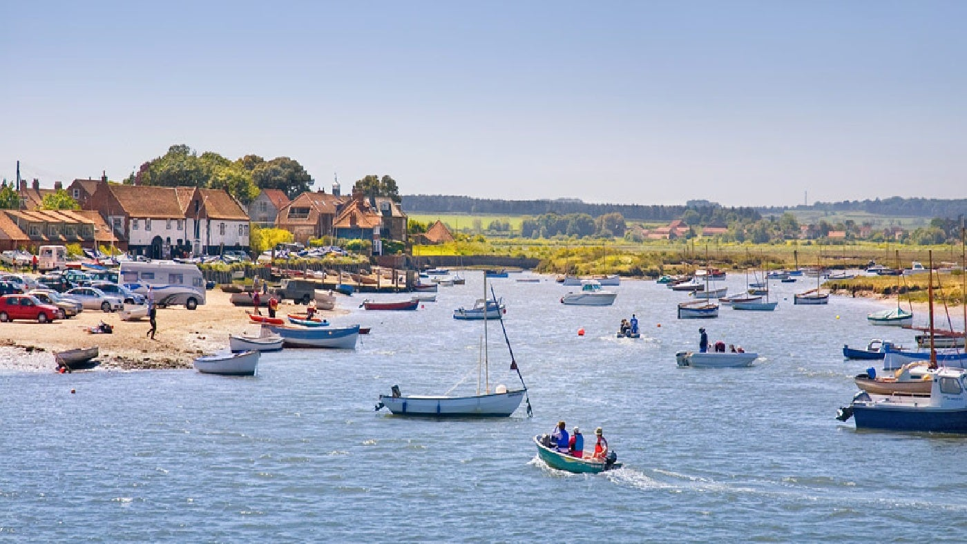 Burnham Overy Staithe harbour scene in summer