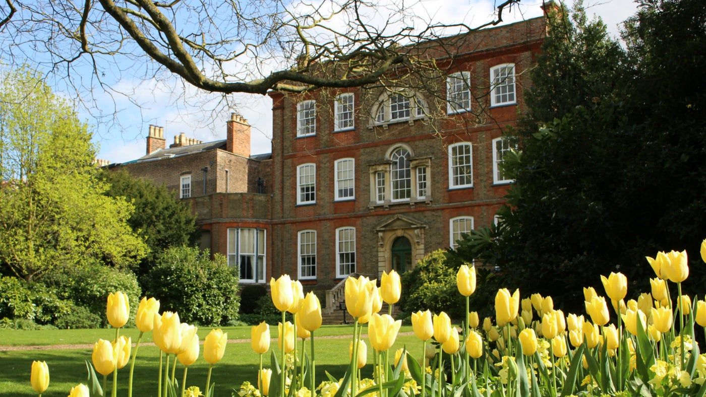Peckover House with tulips in the foreground