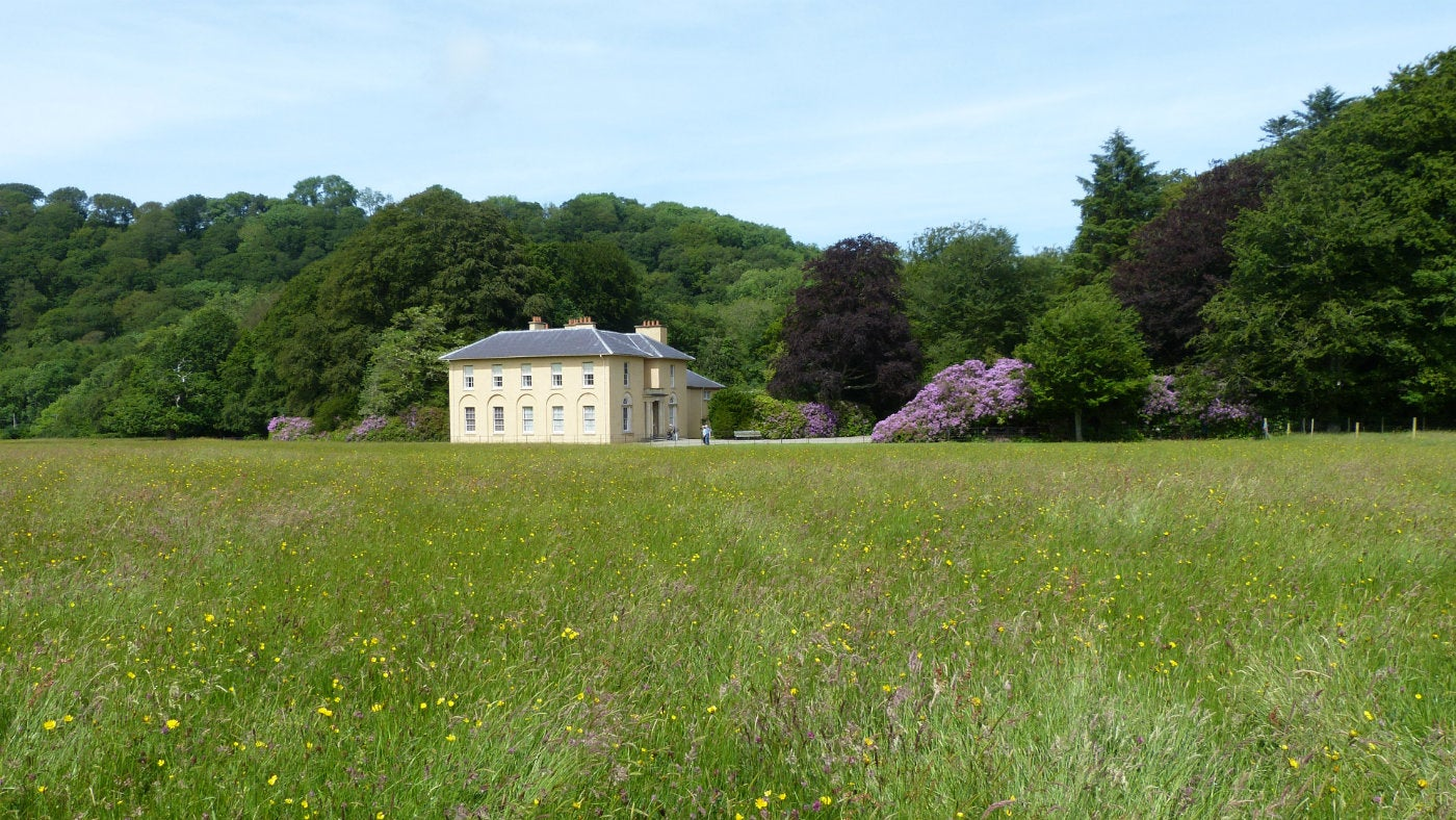 A view of the villa at Llanerchaeron from the meadow