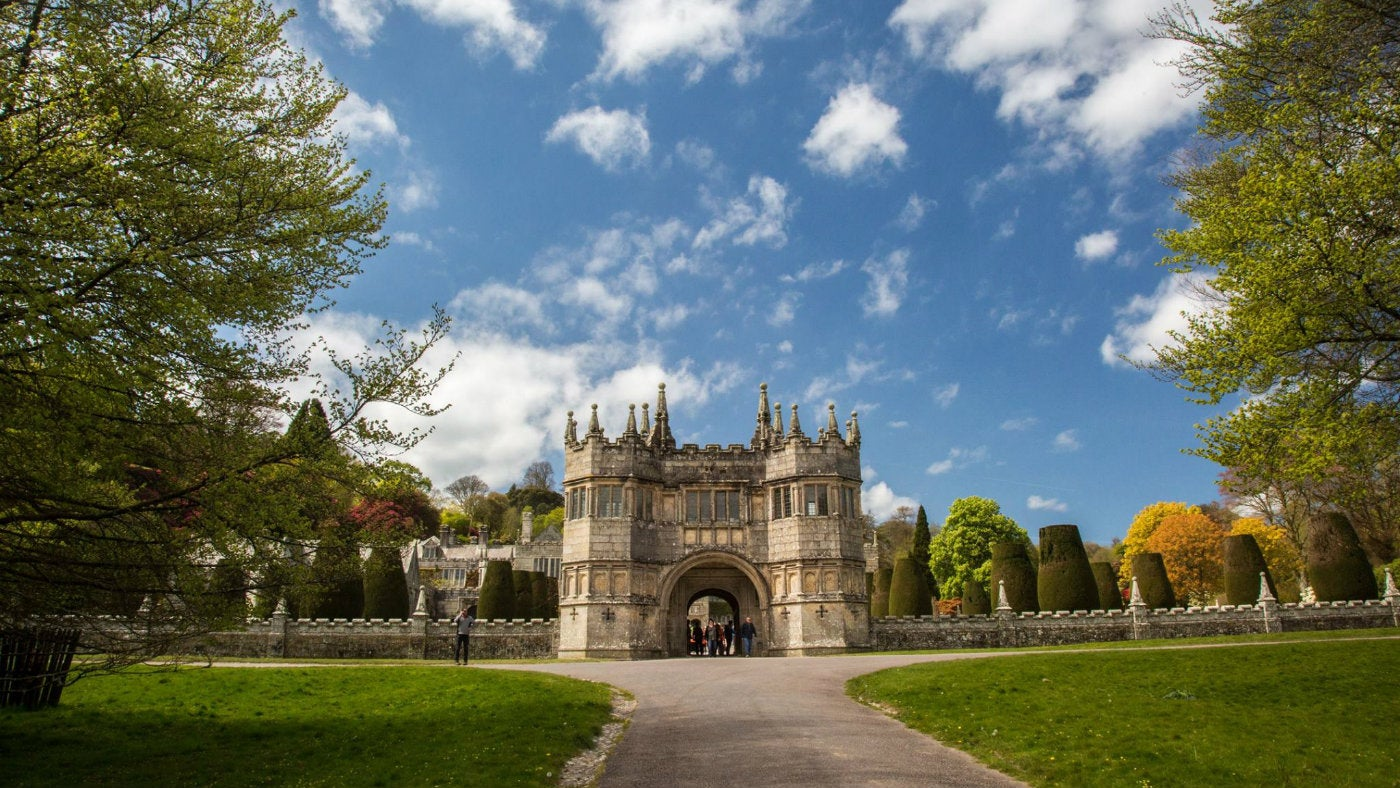 The gatehouse at Lanhydrock bathed in spring sunshine