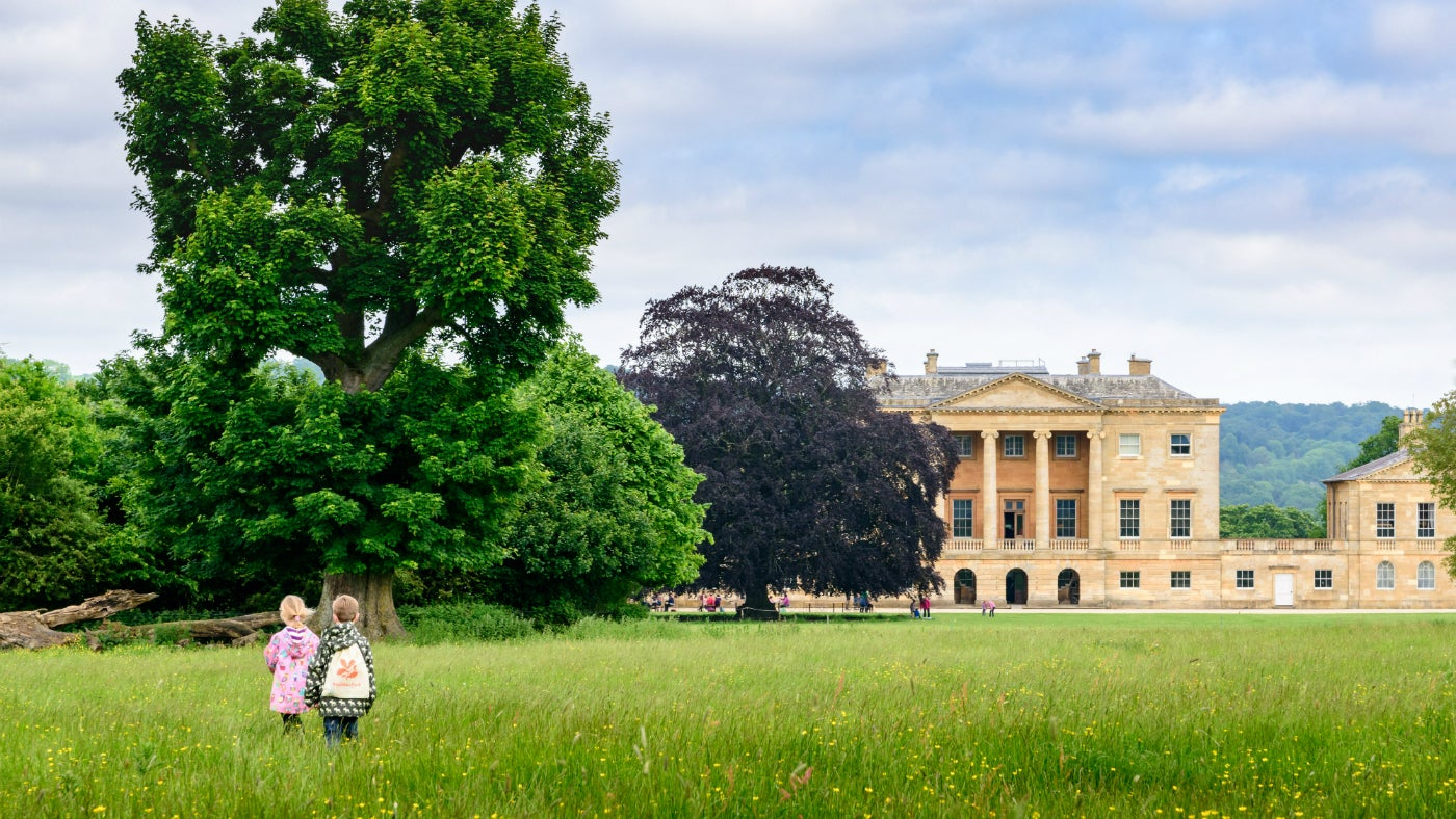 View across the parkland to the mansion, showing children playing in the parkland