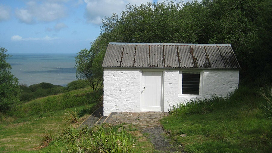 The exterior of Perppercombe Bothy, Devon