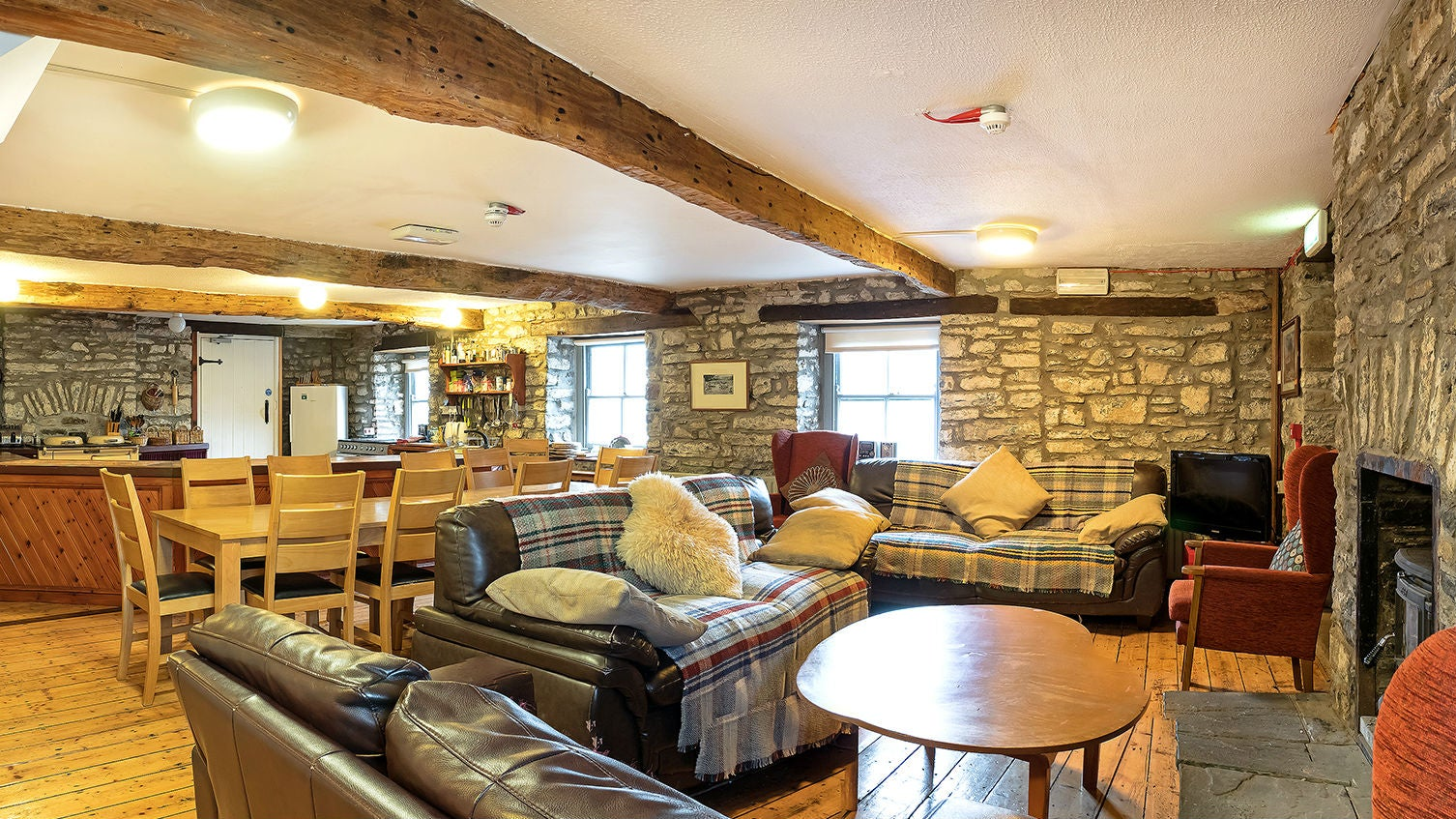 The sitting area at Dinefwr Bunkhouse, Wales