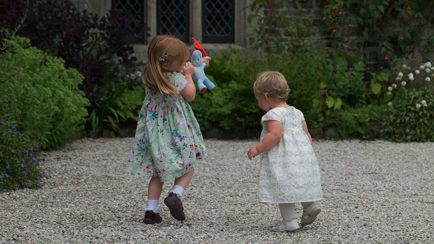 170614 Cotehele two little girls playing with Igglepiggle in the Terraces