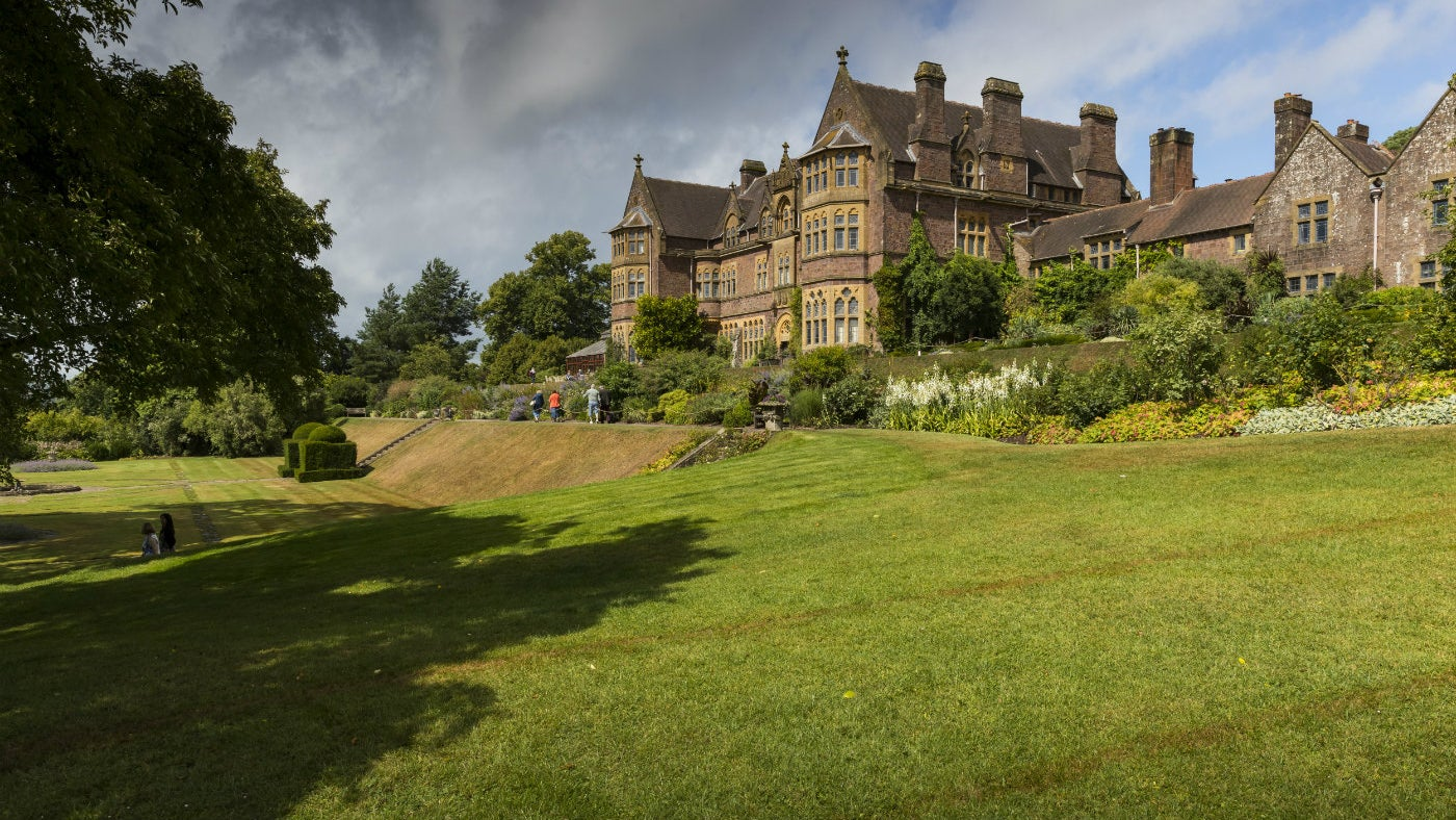 View of south terrace lawn at Knightshayes