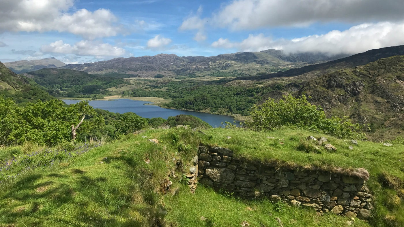 Archaeological site of Dinas Emrys overlooking Llyn Dinas and Nant Gwynant