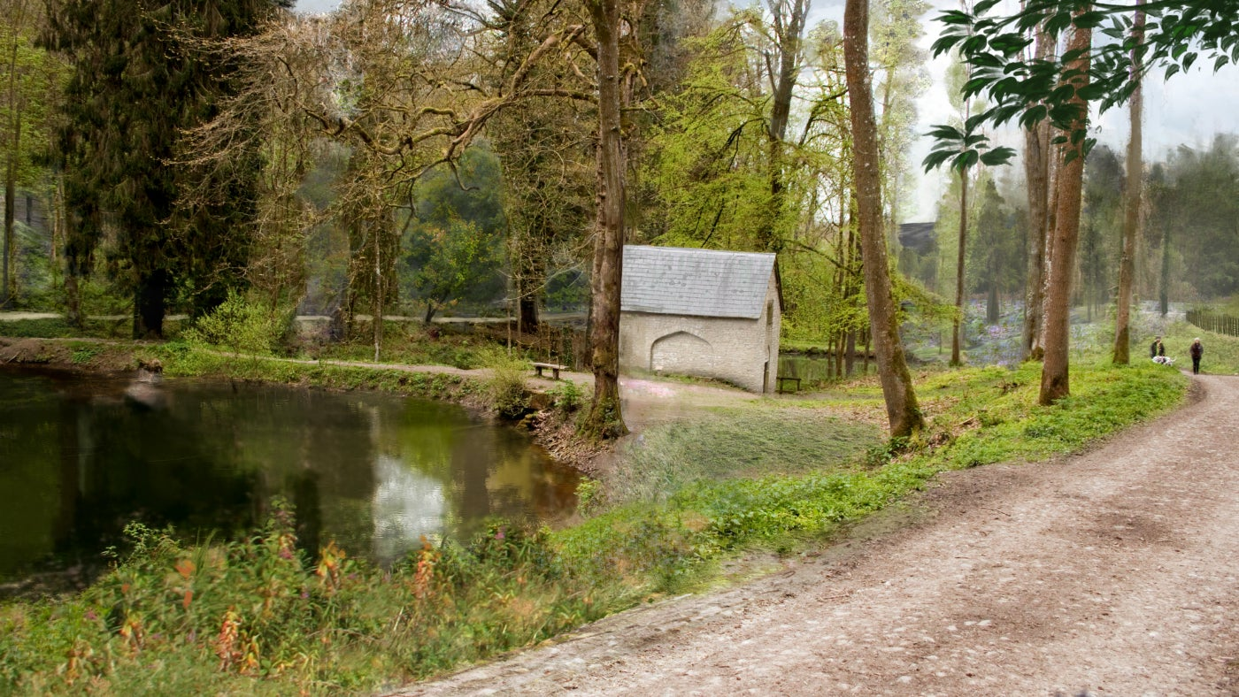 An artist's vision of the pumphouse in Fishpool Valley at Croft Castle in Herefordshire
