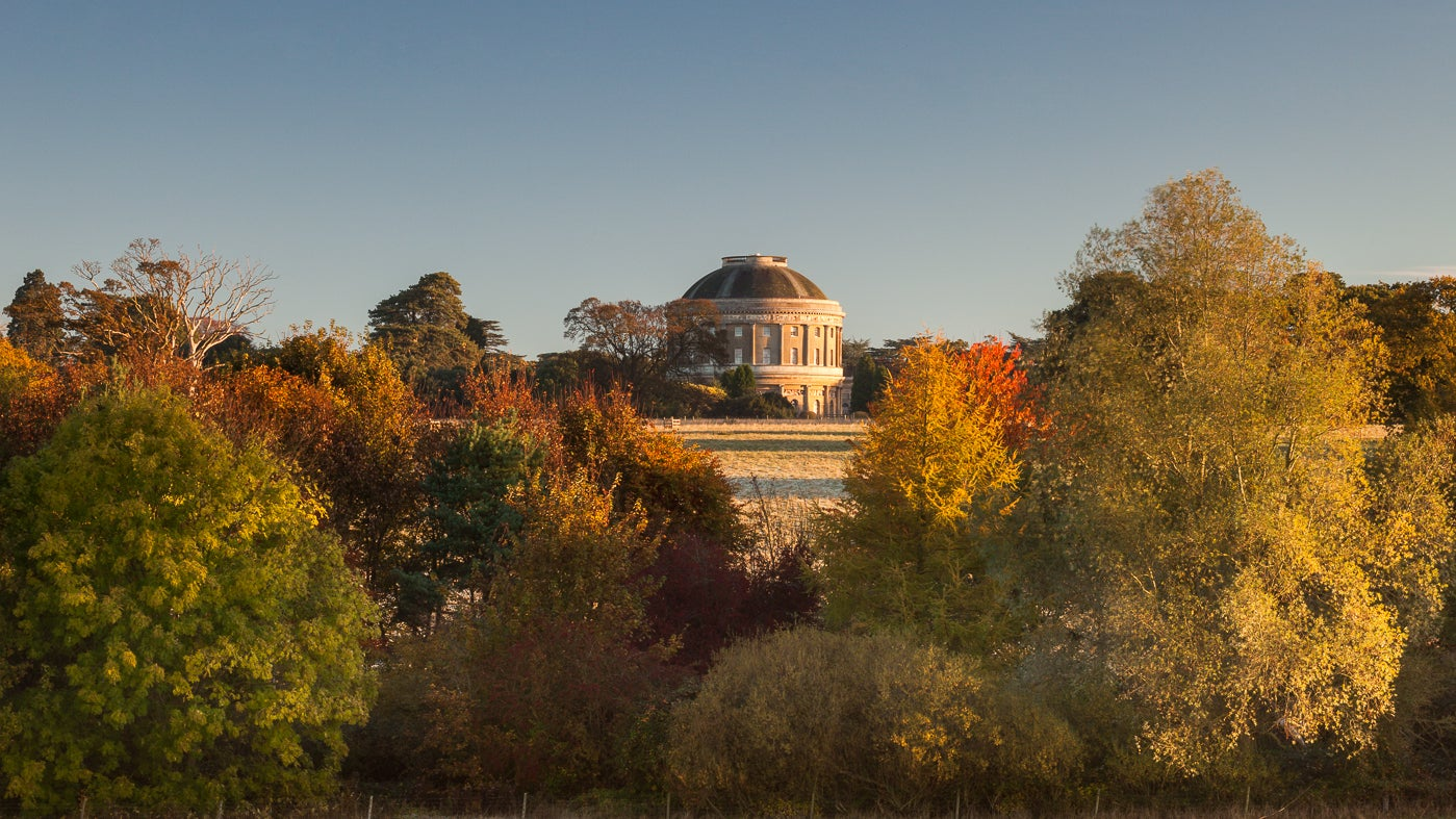 A view of Ickworth rotunda with trees full of autumn colour in the foreground
