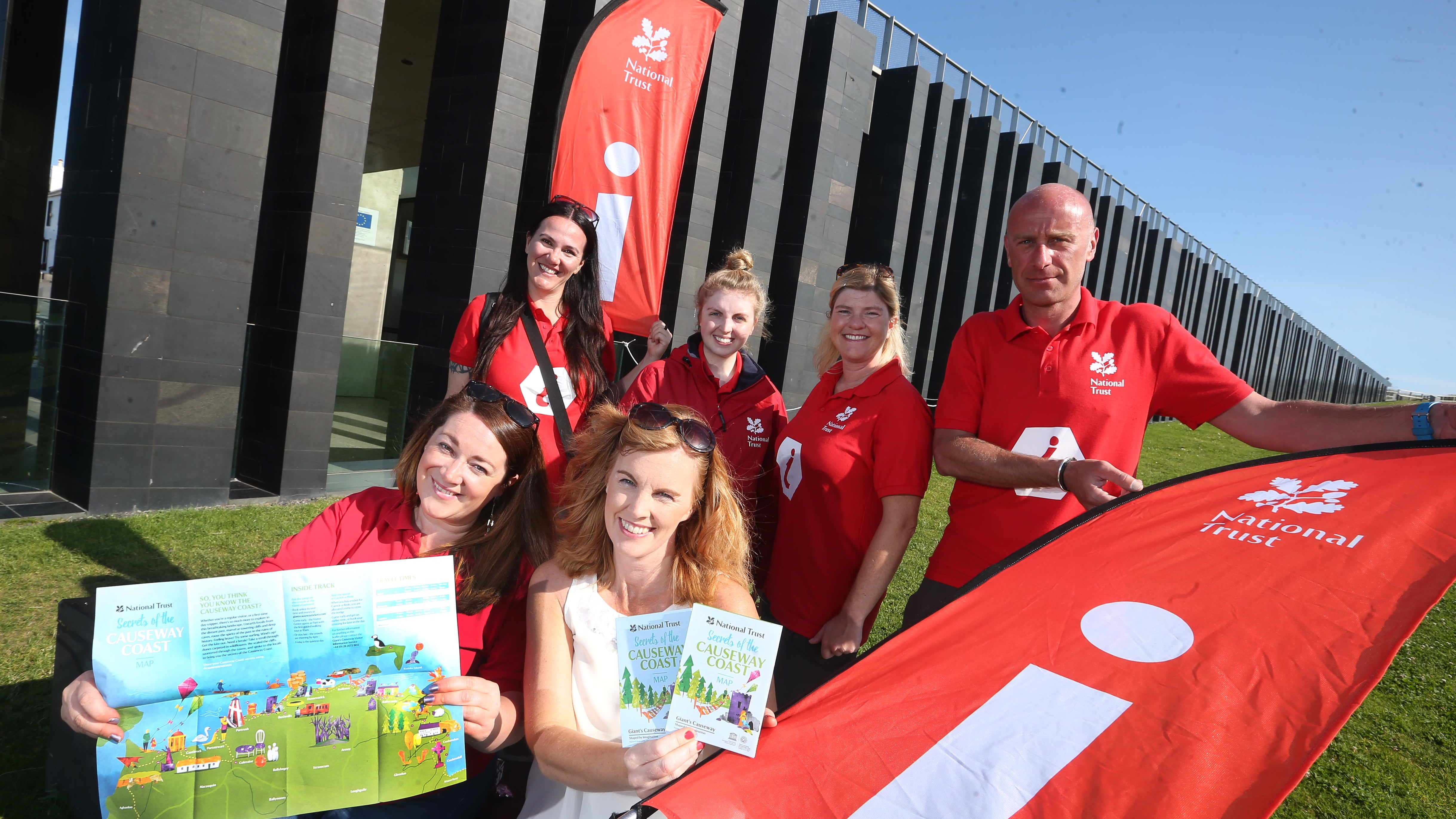 Staff from the National Trust and Causeway Coast and Glens Borough Council pictured with the new map
