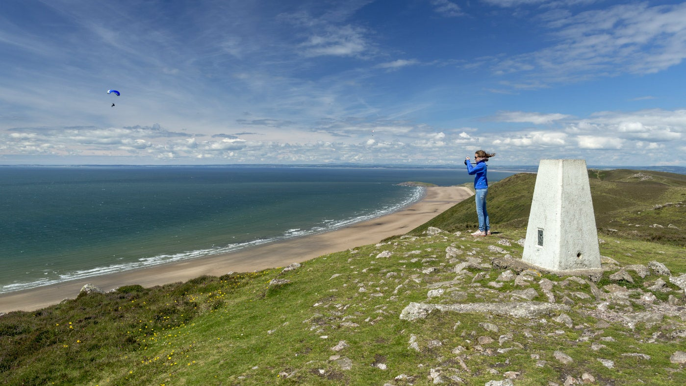 Stunning views of the beach from the top of Rhossili Down, Gower