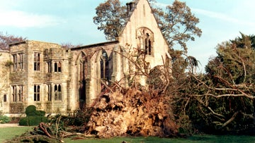 Great Hall at Nymans surrounded by storm wrecked garden