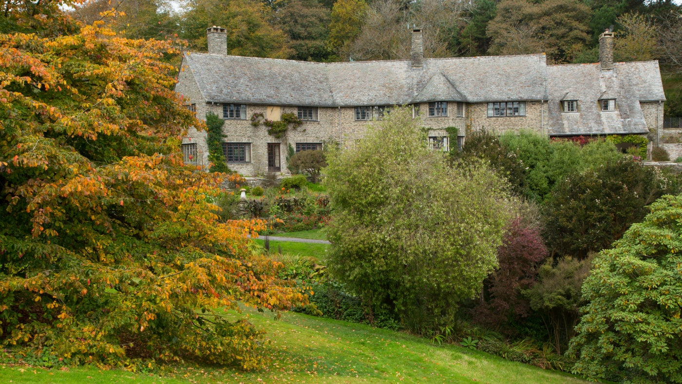 An autumnal view of Coleton Fishacre