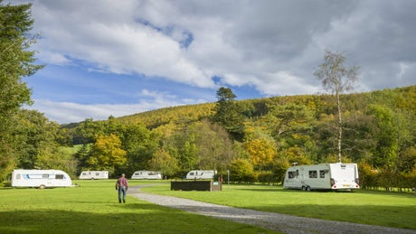 A view of the caravan site, Dolaucothi, Wales