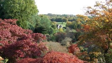 View of Scotney Castle from the Bastion view in autumn