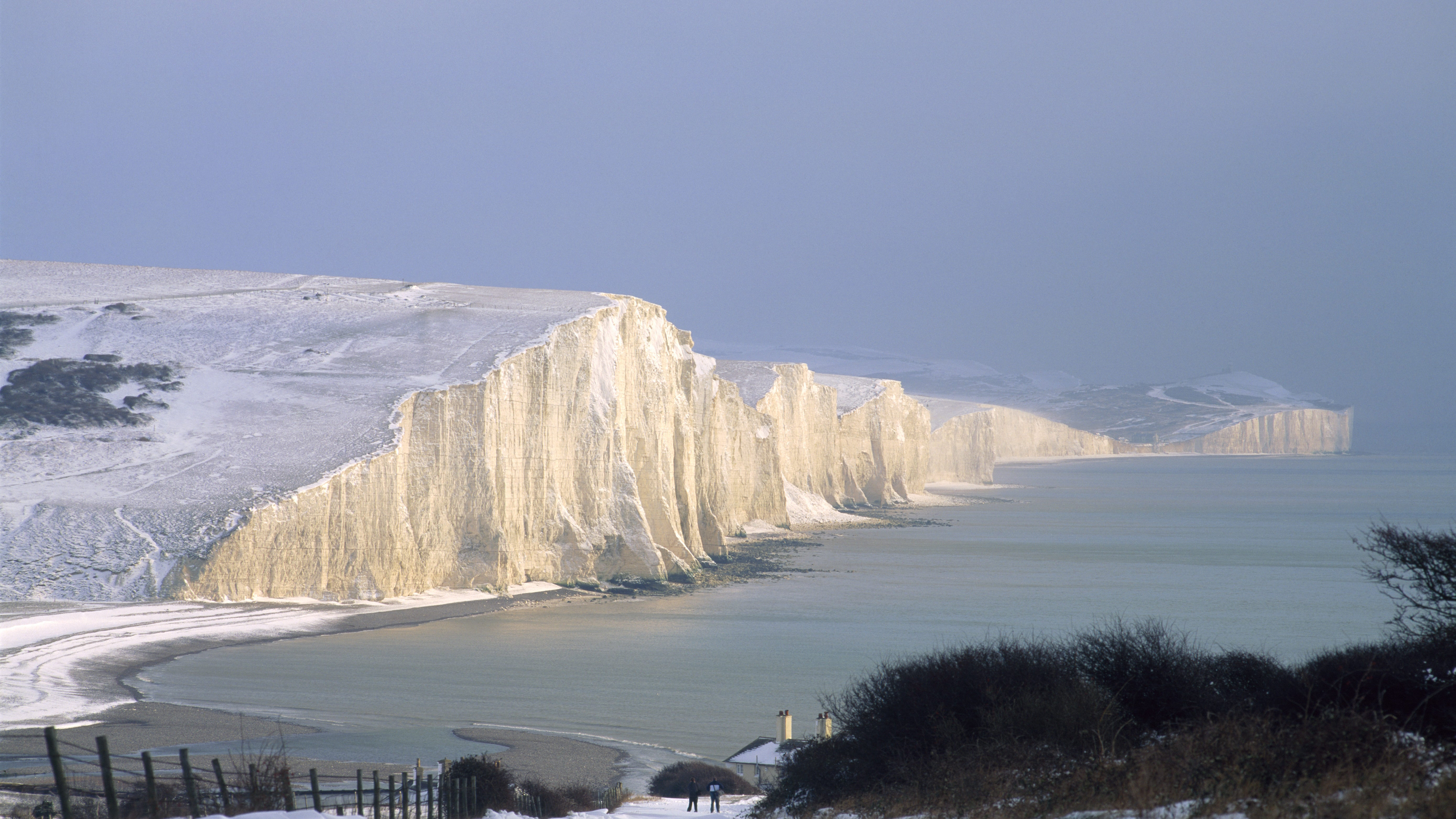 Snowy view over the Seven Sisters cliffs