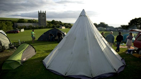 Tents at Highertown Farm campsite, Cornwall
