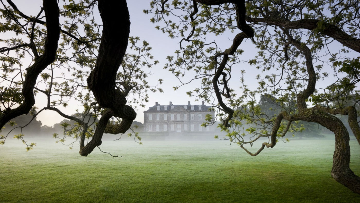 Antony house framed by mist and branches