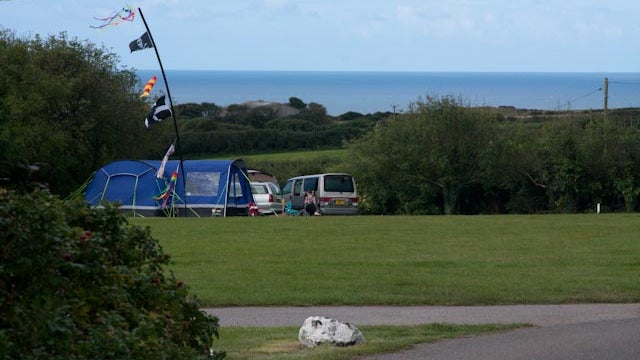 A view of the campsite at Teneriffe Farm, Cornwall