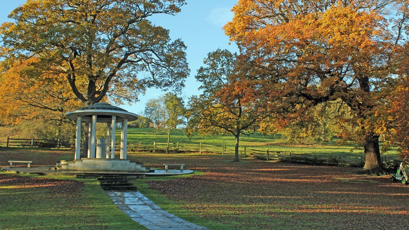 The Magna Carta Memorial in autumn at Runnymede, Surrey