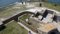 Looking down on the walls of the Needles Old Battery