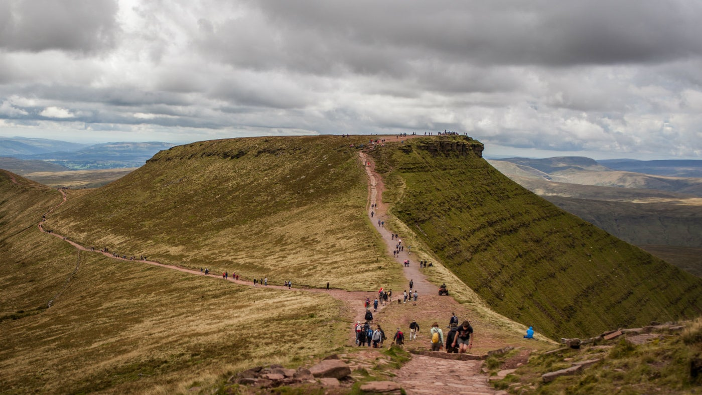 Thousands of people walk the paths on Pen y Fan, Brecon Beacons every year