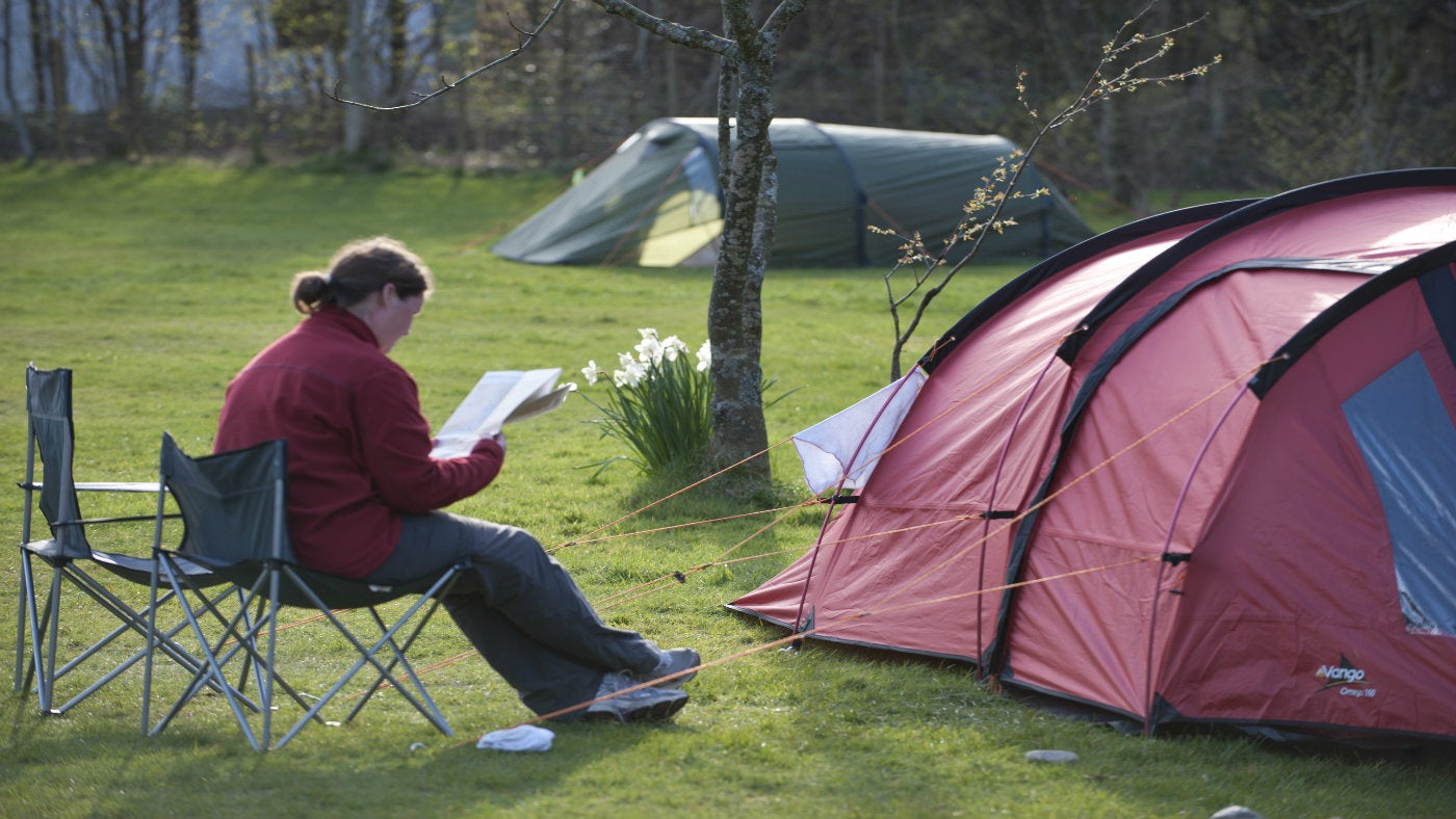 Camping at Wasdale Campsite, Seascale, Lake District, Cumbria