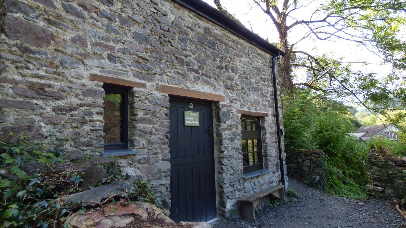 The front entrance at Heddon Orchard Bothy, Devon