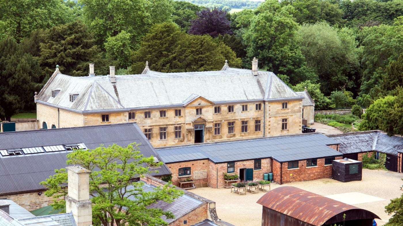 Belton's stables building from the roof of Belton House