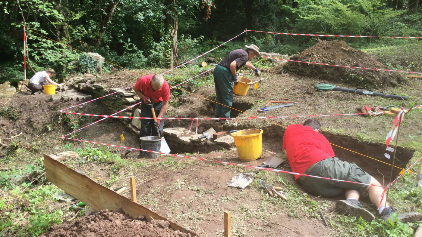 Our team of dedicated archaeology volunteers working away in Fishpool Valley