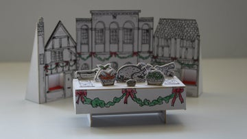 A prototype of the set design for Oak Hall at Christmas