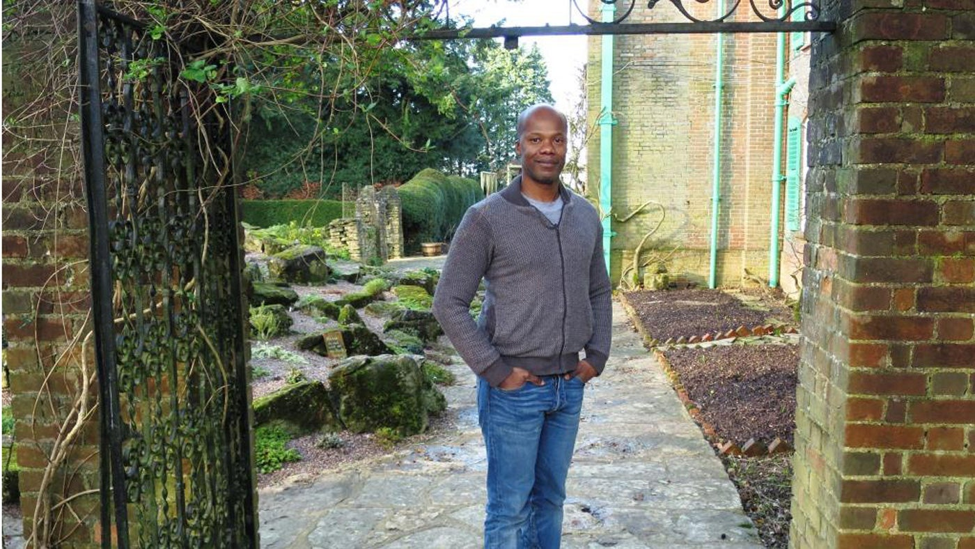 Carlos Soares in the garden of Nuffield Place