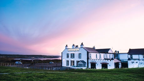 The Causeway Hotel at sunset, Northern Ireland