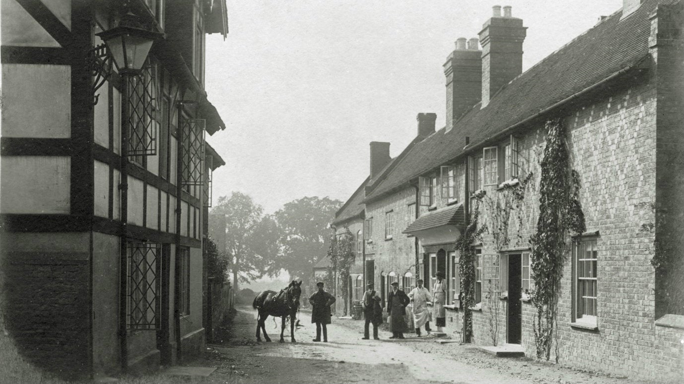 An archive image of School Lane in Sudbury village