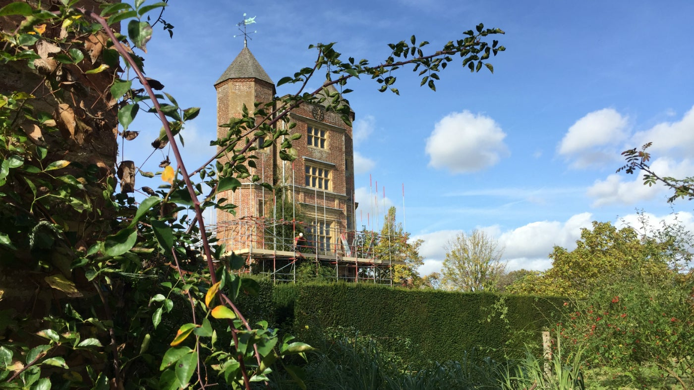 The tower in partial scaffold with the conservation project well under way
