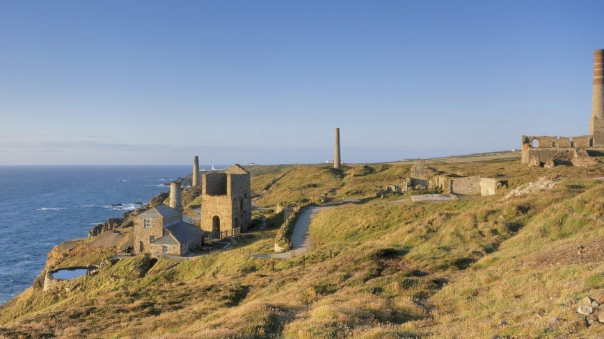 Panoramic view of Levant Mine near St Just in Cornwall