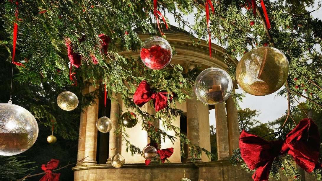 The Temple of Ancient Virtue at Stowe, dressed for Christmas