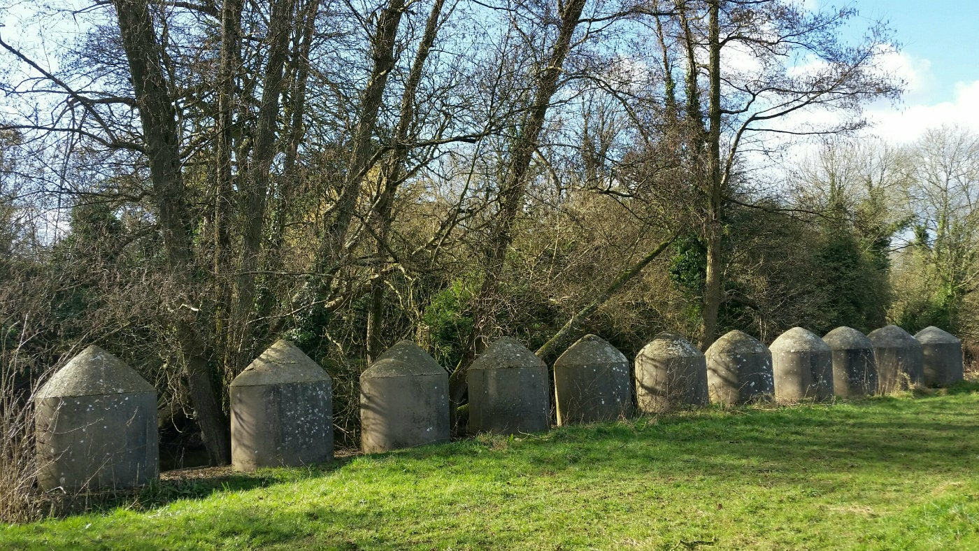 Tank Traps along the river Mole in Surrey