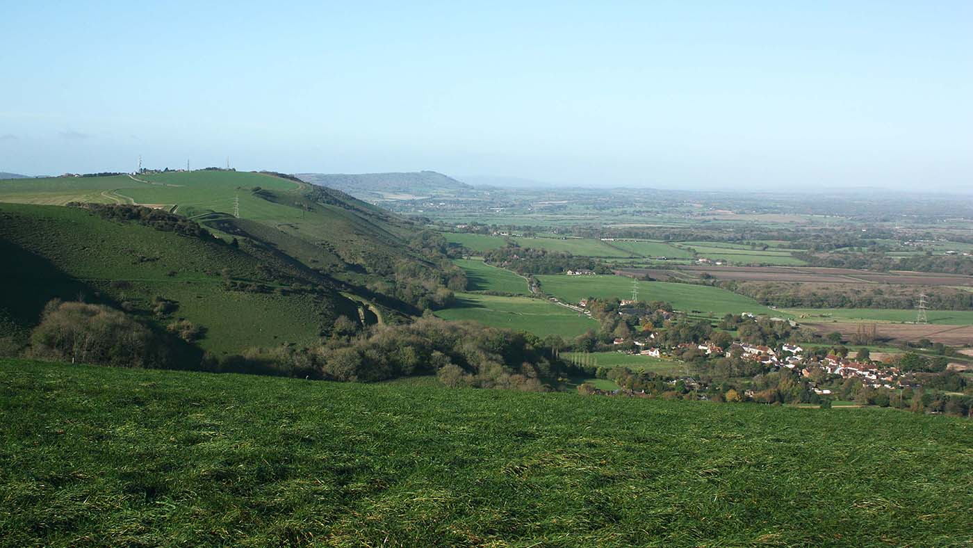 Fulking escarpment and the village of Fulking below