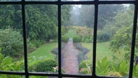 The rain-drenched garden at Paycocke's, seen from an upper window