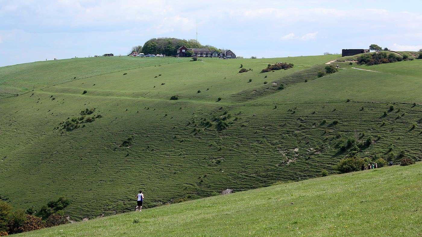 Distant view of the hill fort at Devil's Dyke
